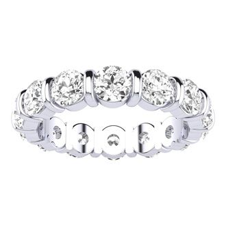 4ct Rounded Bar Set Diamond Eternity Band in 18k WG, H-I | SI1-SI2, 4-9.5