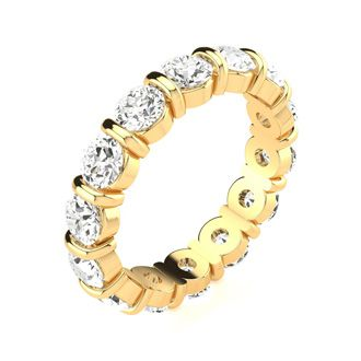4ct Rounded Bar Set Diamond Eternity Band in 18k YG, H-I | SI1-SI2, 4-9.5