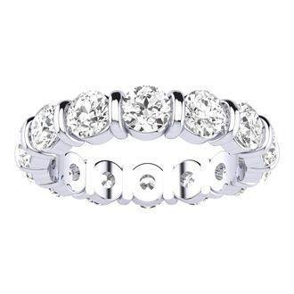 Platinum 4ct Diamond Rounded Bar Eternity Band, H-I | SI1-SI2, Sizes 4-9.5