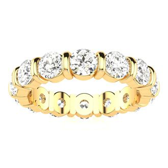 14 Karat Yellow Gold 4 Carat Bar Set Diamond Eternity Band, I-J I1-I2, Ring Sizes 4 to 9 1/2