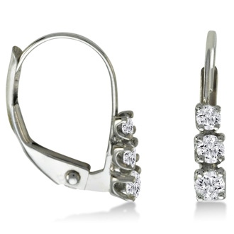 1/4ct Leverback Three Diamond Earrings in 10k White Gold