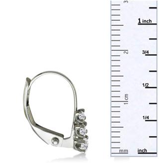 1/4ct Leverback Three Diamond Earrings in 10k White Gold