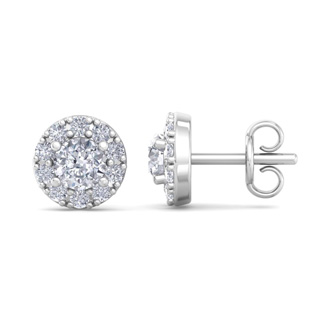 1/4ct Diamond Stud Earrings With Pave Diamonds in White Gold