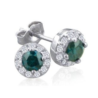 1/4ct Blue Diamond Stud Earrings With Pave Diamonds