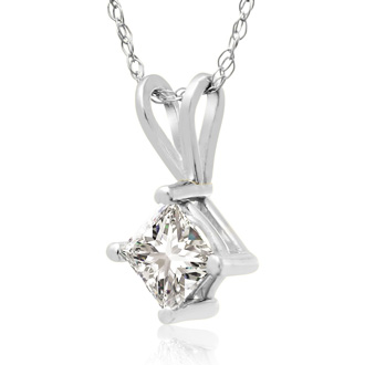 1/2ct Princess Cut Diamond Pendant in 14k White Gold