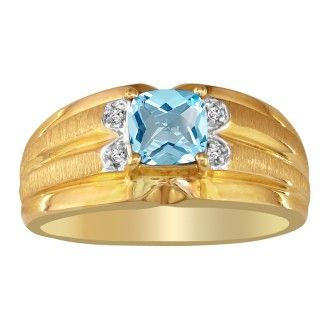 .02ct Diamond and Blue Topaz Ring in 10k Yellow Gold