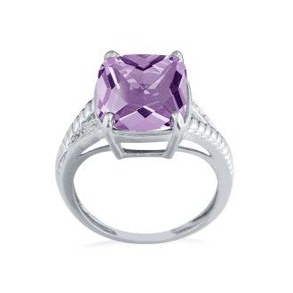 5ct Amethyst and Diamond Ring in 10k White Gold
