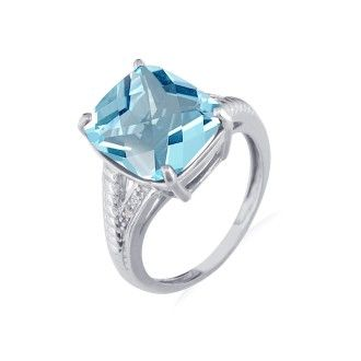 6ct Blue Topaz and Diamond Ring in 10k White Gold