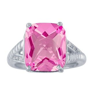 6ct Pink Topaz and Diamond Ring in 10k White Gold