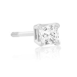 1/4ct Princess Diamond Stud Earrings in 14k White Gold. Closeout.