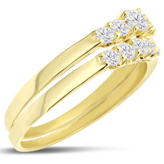 1/2ct Diamond Bridal Set With .12ct Center Diamond in 14k Yellow Gold