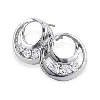 1/4ct  Three Diamond Earrings in 14k White Gold