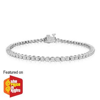 2ct Round Based Diamond Tennis Bracelet in 14k White Gold