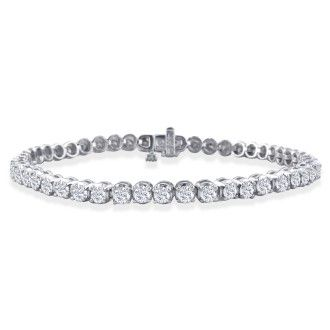 3ct Round Based Diamond Tennis Bracelet in 14k White Gold