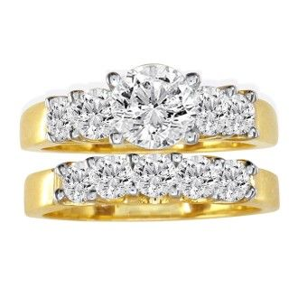 1 Carat Diamond Bridal Set With 1/3 Carat Center Diamond in 14k Yellow Gold