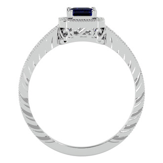 0.85 Carat Antique Style Sapphire and Diamond Ring in 10 Karat White Gold