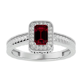 .85ct Antique Style Ruby and Diamond Ring in 10k White Gold