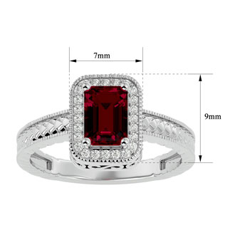 1.12 Carat Antique Style Ruby and Diamond Ring in 10 Karat White Gold