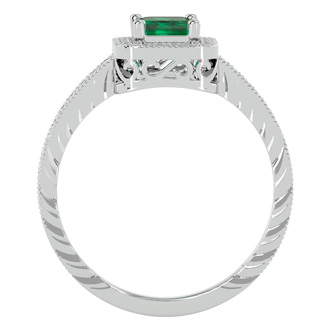 1.17ct Antique Style Emerald and Diamond Ring in 10k White Gold