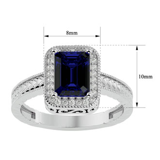 2 Carat Antique Style Sapphire and Diamond Ring in 14 Karat White Gold