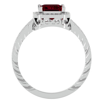 2.18ct Antique Style Ruby and Diamond Ring in 14k White Gold