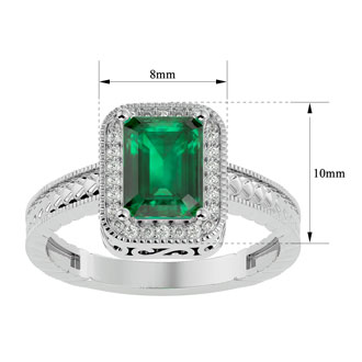 2 Carat Antique Style Emerald and Diamond Ring in 14 Karat White Gold