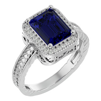 2 1/2 Carat Antique Style Sapphire and Diamond Ring in 14 Karat White Gold