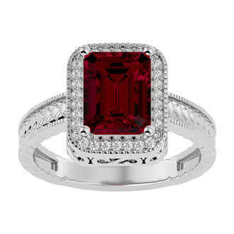2 1/2 Carat Antique Style Ruby and Diamond Ring in 14 Karat White Gold