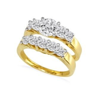 1.09ct Diamond Bridal Set With 1/4ct Center Diamond in 14k Yellow Gold