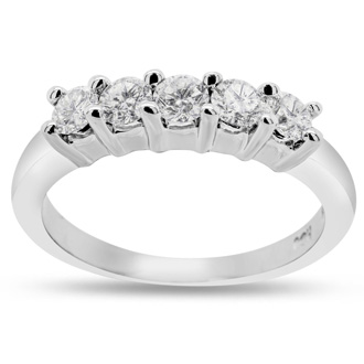 1/2ct Fine Prong Set Traditional Diamond Band in 14k White Gold