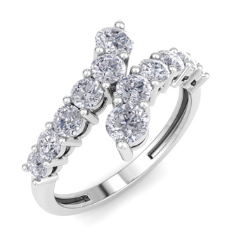 1ct Journey Style Right Hand Diamond Ring in 14k White Gold