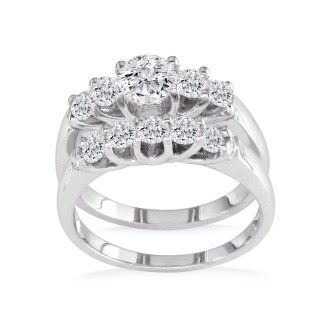 1.09ct Diamond Bridal Set With 1/4ct Center Diamond in 14k White Gold