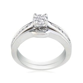 Very Fine 3/4ct Diamond Bridal Set, White Gold