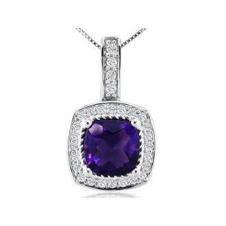 2 1/2ct Amethyst and Diamond Pendant in 14k White Gold
