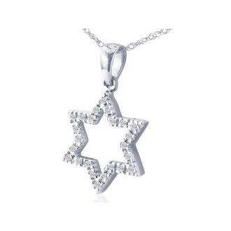 1/8ct Star of David Diamond Pendant in 10k White Gold