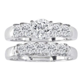 2ct Diamond Bridal Set With 3/4ct Center Diamond in 14k White Gold