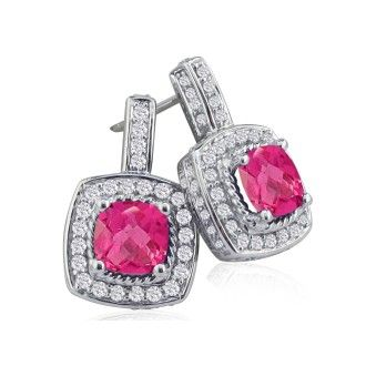 2 1/2ct Pink Topaz and Diamond Earrings in 14k White Gold