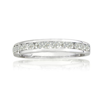 Fine 1/4ct Channel Set Diamond Anniversary Band in 18k White Gold