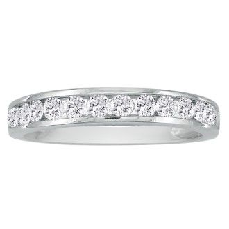 Fine 1/2ct Channel Set Diamond Anniversary Band in 18k White Gold