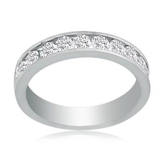 Fine 1ct Channel Set Diamond Anniversary Band in 18K White Gold