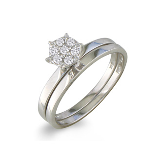 1/8ct Petite Diamond Bridal Set in 10K White Gold