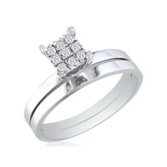 1/7ct Lovely Diamond Bridal Set in 10K White Gold