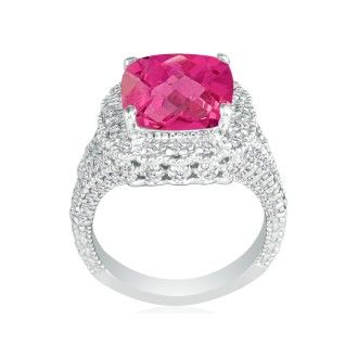 Stylish 4 1/2ct Pink Topaz and Diamond Ring in 14k White Gold