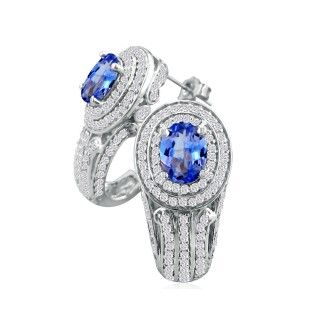 Bold 3 3/4ct Tanzanite and Diamond Earrings in 14k WG