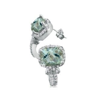 5 1/4ct Green Amethyst and Diamond Earrings in 14k White Gold