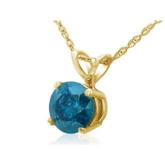 1/2ct Round Brilliant Cut Blue Diamond Pendant in 14k Yellow Gold