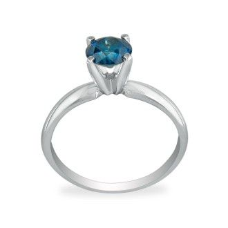 1/2ct Round Brilliant Cut Blue Diamond Ring In 14k White Gold