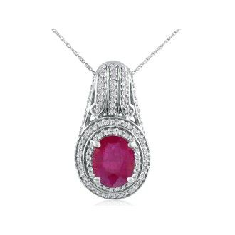 Large and Impressive 4.33 Carat Ruby and Diamond Necklace In Solid White Gold