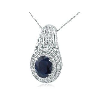 4 1/3ct Sapphire and Diamond Pendant in 14k White Gold