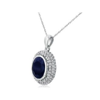 4ct Sapphire and Diamond Pendant in 14k White Gold